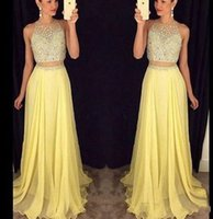 Wholesale bright art - Bright Yellow Two Piece 2017 New A line Prom Dresses Jewel Lace Illusion Sweetheart Beaded Collar Tulle with Sash Floor-length prom dresses