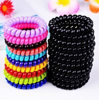 Wholesale cheap candy holders - Wholesale cheap 100pcs lot candy color large telephone line hair ring girls' hair ring Free Shipping