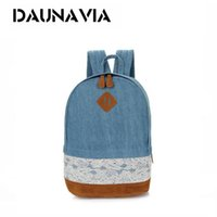Wholesale Blue Pig Nose Backpack - Women Backpack For School Teenager Girls Flowers Printed Nylon Travel Backpacks Casual Denim lace backpack Pig nose travel bag