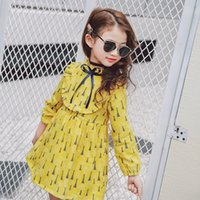 Wholesale European Style Round Neck Dress - INS styles new arrival Girl dress kids spring long sleeve 100% cotton cartoon dandelion print round collar dress girl dress free shipping