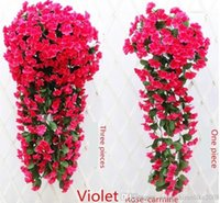 Wholesale Lowest Price Silk Flowers - Romantic wedding anniversary room Decorations silk flowers Simulation hydrangea violet hang flowers free shipping in low price on hot sale