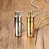 urnas de cremação de vidro venda por atacado-Homens Colares de Aço Inoxidável Cilindro De Vidro Aromaterapia Óleo Essencial de Perfume Colar de Pingente de Cremação Urna Jóias PN-720