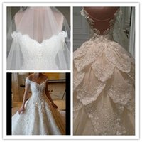 Wholesale Pink Mail Bags - The new sexy V card shoulder drain back Eugen white gauze trailing sequins lace flower wedding dress skirt multi bag mail