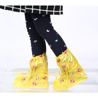 Wholesale Kids Shoe Covers - Children cute cartoon printing drawstring portable rain boots rabbits letters print water-proof outdoor shoe covers kids foldable rain shoes