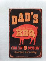 Wholesale Bbq Signs - DAD'S BBQ Chilling&Grillin tin sign Vintage home Bar Pub Hotel Restaurant Coffee Shop home Decorative Metal Retro Metal Poster Tin Sign