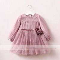 Wholesale Embroidered Tulle Dress - Everweekend Girls Tulle Ruffles Floral Embroidered Dress with Flower Princess Candy Color Western Fashion Autumn Party Clothes