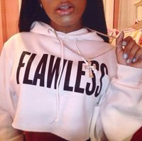 Wholesale Letter Navel - 2016 Fall and winter FLAWLESS warm letters printed hooded fleece exposed navel short hoodies sweatshirt for women white black