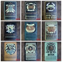 Wholesale tea tin europe - All kinds of Beer Brewery Metal Tin Sign Vintage Coffee Plaque for tea time in boutique shop kitchen