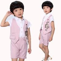 d352b6d19b1 Short Baby Prom suits Vest + Shorts 2pcs Summer Kids Party Sets Children  Clothing Set Boys set