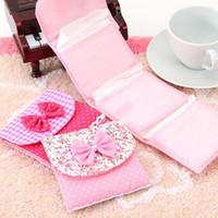 Wholesale pad organizer - Wholesale- Cloth Menstrual Pads Menstrual Bowknot Cotton Sanitary Towel Napkin Pad Purse Holder Easy Bag Organizer Random Color