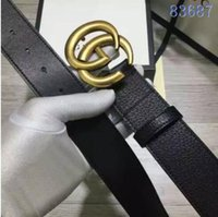 Wholesale Men S Fashion Leather - 2017 Fashion Striped Double G Buckle Men Designer Belts European Style High Brand waistbands High Quality Real Leather girdle with box