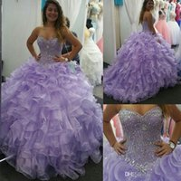 Wholesale Girls Party Dresses Year 12 - Sweet 16 Lavender Quinceanera Dresses 2017 Sweetheart Crytal Beads Ball Gown Ruffles Organza Princess 15 Years Girls Prom Party Gowns