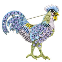 Wholesale Rooster Chicken Costume - Crowing Gold Tone Enamel Rooster Cockerel  Chicken Animal Brooches Happy Farm Roosters Hens Pins Costume 1.625 x 1.5 inches