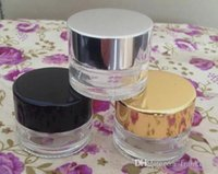 Wholesale Cosmetic Jars Black Lids - wax container glass Eco-friendly cosmetic 10g clear transparent cream jars and glass lotion bottle with gold silver black cap lid