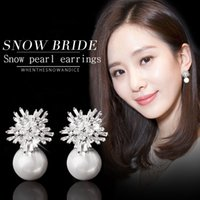 Wholesale Copper Dinner Plates - High-end personality snow flower black zircon earrings female 925 silver needle earrings shell pearl pendant bride ear jewelry dinner high-e