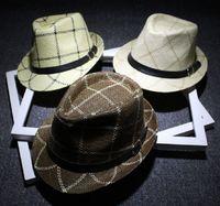 Wholesale Tall Men Fashion Wholesale - Fashion Men Plaid Straw Jazz Hat With Leather Belt Bowler Brim Fedora Hats Summer Beach Stylish Panama Caps Sun Protection