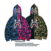 Wholesale Korean Men S Sweaters - Autumn and winter Europe and the United States tide brand shark head stitching camouflage zipper hooded sweater jacket Korean men and women