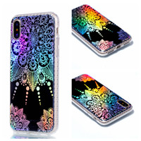 Wholesale Phone Colorful Skins - For iphone X 5.8 inchTpu Electroplated Colorful Mandala Flower Case Skin Back cover Cellphone Phone cases 8 8G 7 plus Samsung S7 edge S8