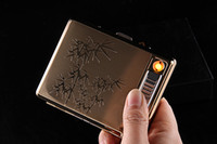 Wholesale Electronics Metal Case - High quality Metal Full Pack 20 Regular Cigarettes Case Box Built-in Flameless Electronic Rechargeable USB lighter