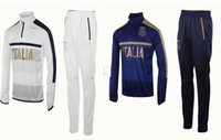Wholesale White Italian Suits - 2017 2018 Survetement football Italy tracksuit italia training suit kits Soccer Chandal italian training shinny tight pants sweater shirt