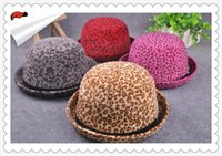 Wholesale Dome Round Hat - New Leopard Top Hat Autumn Winter Lady Belt Buckle Round Hat Imitation Mink Hair Fashionable Flanging Hat 77