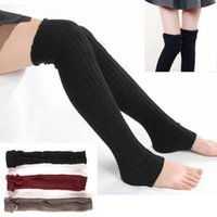 Wholesale Thick Red Wool Socks - New Winter Socks Women High Quality Knitted wool Stocks Knee Socks Thick Warm Socks Leg Warmers Woman Thigh High Stocking #008