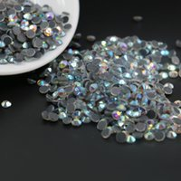 Wholesale Glue Crystals - DMC Hotfix Round Rhinestone SS6,SS10,SS16,SS20,SS30 Flat Back Glue on Rhinestone For Garment Makings (Crystal AB)