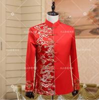 vestido formal vermelho estilo chinês venda por atacado-Estrela cantor estilo de dança roupas de palco para homens túnica chinesa terno 2017 mens ternos de casamento noivo formal vestido vermelho do vintage