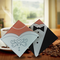 Wholesale favor coasters resale online - Square Glass Cup Mat Bride And Groom Dress Kitchen Bar Tableware Coasters Creative Gift Delicate Decor ab F R