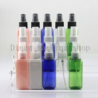 Wholesale Square Spray Bottles - Hot Free Shipping 50pcs Lot 50ML CC Portable Transparent Square Perfume Atomizer Hydrating Spray Bottle Makeup Tools