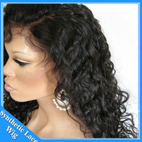 Wholesale Cheapest Afro Curly Wigs - Fashion step 20 inch cheap Afro Kinky Curly Wig Sexy African American Black women hair Black Synthetic Wigs Cosplay kinky afro wigs