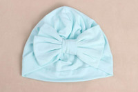 Wholesale Baby Accessories Retail - Retail 10 Colos Baby Girls Cotton Hats Bow Bohemia Elastic Solid color Cap Muslim Fashion Caps India hat Baby Accessories TM227