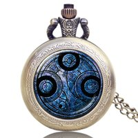 Wholesale Old Watches Necklaces - Wholesale-Old Antique Bronze Doctor Who Theme Quartz Pendant Pocket Watch With Chain Necklace Free Shipping