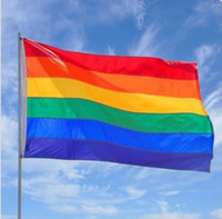 Wholesale 600Pcs Rainbow Flag x5FT x150cm Lesbian Gay Pride Polyester LGBT Flag Banner Polyester Colorful Rainbow Flag For Decoration X FT