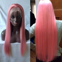 Cheap Pink Wigs Pure Color Pink Long Silky Straight Lace Front Perucas Cabelo Humano Full Lace Wigs With Baby Hair