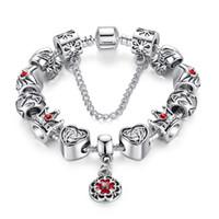 brins de bracelet pandora achat en gros de-Pandora Argent Original Verre Perle Strand Bracelet pour Femmes Avec Chaîne De Sécurité Cristal De Mode Bijoux 18 CM 20 CM 21 CM