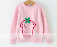 Wholesale Knit Strawberry - 2017 Autumn New Baby Girl Knitting sweater Strawberry long sleeve pullover Children Clothes 317528