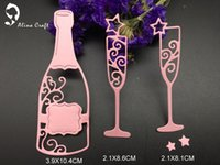 Wholesale Cups Stencil - METAL CUTTING DIES 3pc wine bottle drink cup stars Scrapbook invitation PAPER CRAFT goblet standing cup embossing stencils