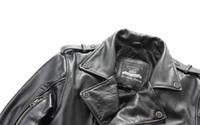 primeiro jaquetas de couro da motocicleta venda por atacado-Homem Harley motocicleta roupas lapela oblíqua zipper jaquetas primeira camada de couro genuíno dos homens outwear casacos de couro frete grátis