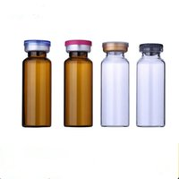 Wholesale Medicine Flip Cap Wholesale - 20ML Clear Injection Amber Glass Vial with Center Flip Off Cap 20CC Transparent Liquid Medicine Glass Containers F2017309