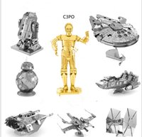 Wholesale 3D Star wars Xwing ATAT Millennium Falcon BB8 Vader Tie Fighter Metal Puzzle adult models educational toy DHL