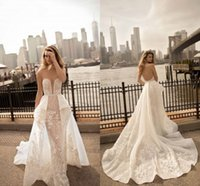 Wholesale Wedding Dressing Wholes Sale - Berta 2017 Lace Applique Sleeveless Sweep Train Backless Whole Sale Custom Made Sexy Wedding Dresses Luxurious Modern Wedding Gowns