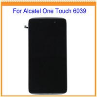 дюймовые жк-дисплеи оптовых-Оптовая продажа-4.7 inch для Alcatel One touch idol 3 OT6039 6039 ЖК-экран с сенсорным экраном дигитайзер с рамкой Бесплатная доставка