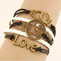 Wholesale clock chain bracelet resale online - Retro creative LOVE clock handcuffs combination alloy accessories manual multi layer braided bracelet