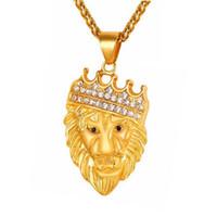 Wholesale Lion Head Silver Pendants - New Arrivals Hip Hop Crown Lion Head Pattern Pendant Necklaces Rhineston Fashion Jewelry Women for Men