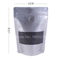 Wholesale Texture Foil - 12x17cm(4.75x6.75in) New Heat sealing stand up Texture aluminum foil clear window Packaging Bag zip lock for tea coffee bean