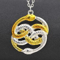 Wholesale Never Ending Story - Wholesale-The NeverEnding Story Necklace Never Ending AURYN Ouroboros Snakes Silver Gold Fashion Pendant Movie Jewelry Wholesale