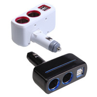 Wholesale Car Power Splitter Usb - Universal 2 Ways Car Auto Cigarette Lighter Socket Splitter Power Adapter 2.1A   1.0A 80W Dual USB Car Charger With LED light