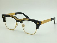 Wholesale Vintage Titanium - vintage brand glasses prescription Semi-rimless eyewear gold plated vintage men frame vs427 face logo with original case clear lens optical