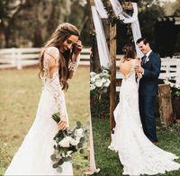Wholesale poets fall - Beach Summer Boho Wedding Dresses 2017 Backless V-neck Straps Long Sleeves Floor Length Bridal Gowns Formal Dresses For Bohemian Wedding